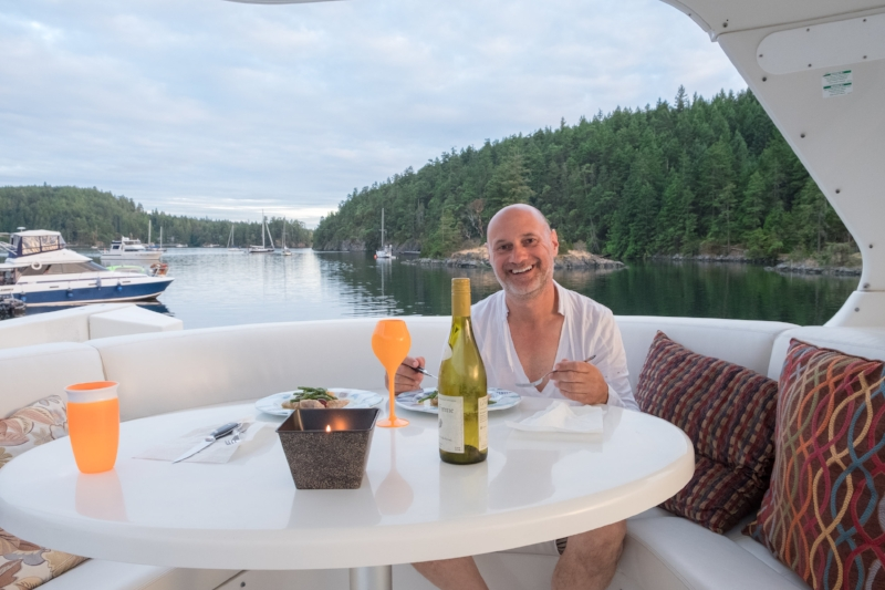 Dinner at Sunset on board In Search of Sunrise in Secret Cove, BC Canada | Destination: Desolation | Totes and the City