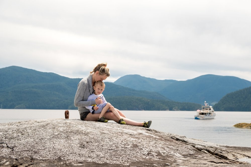 Totes and Mamma hiking the rocks of Mink Island in Desolation Sound, BC Canada | Destination: Desolation | Totes and the City