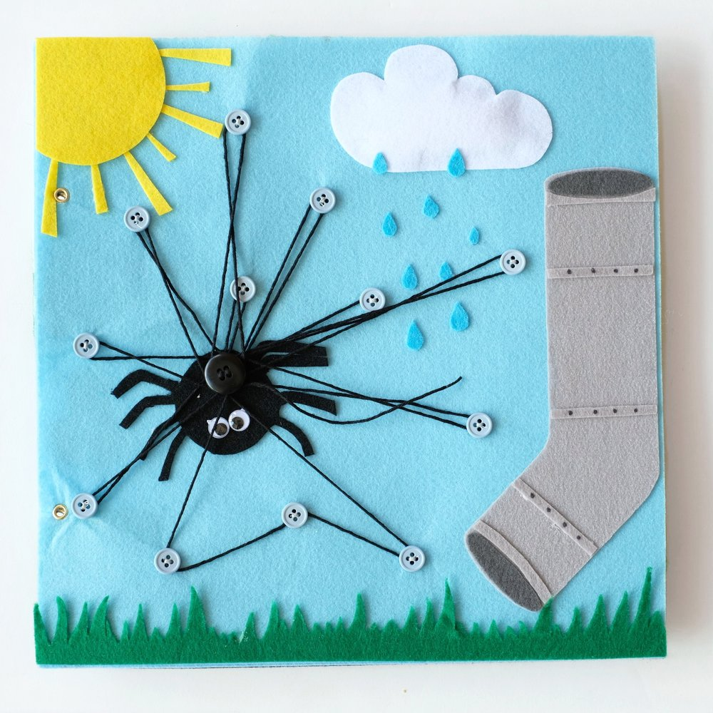 Page five of Apple's Quiet Book (and probably my favorite!) | Itsy Bitsy Spider theme with string spun spider web |Page five of six of my DIY quiet felt book project by Totes and the City