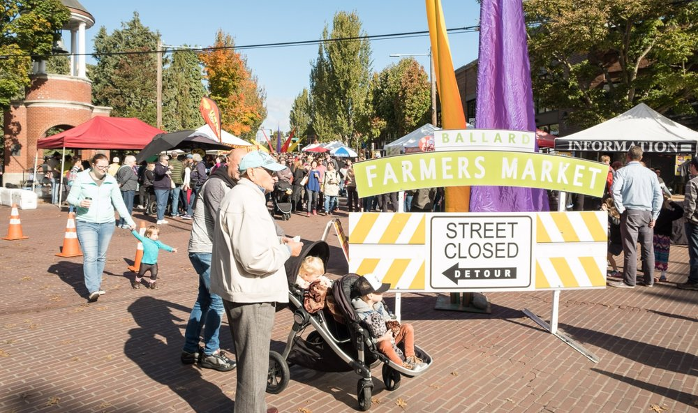 The Ballard Farmer's Market is open every Sunday from 10am - 3pm on 22nd Avenue NW and NW Market Street in Ballard, WA.