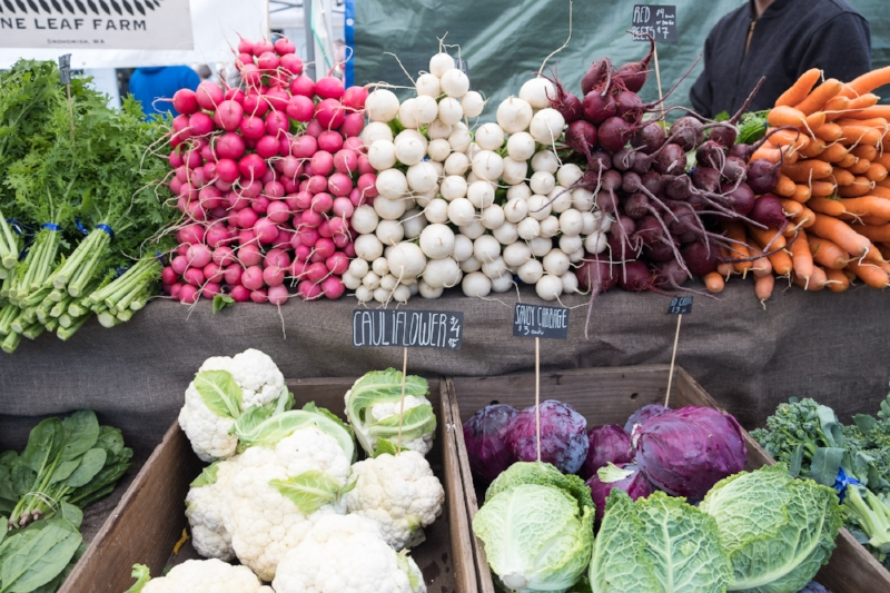 Fresh Produce from Nine Leaf Farm at the Ballard Farmer's Market | Photo by Totes and the City