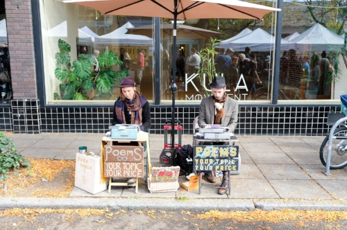 A unique assortment of vendors and street performers come together at the Ballard Farmer's Market. Poem Station. Photo by Totes and the City.