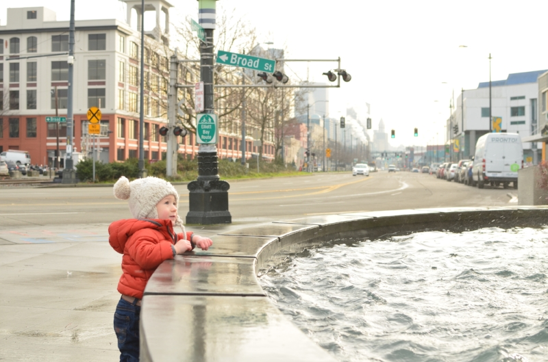 At the waterfront on Alaskan Way and Broad Street memorized by the water fountain just before the train rolled by and stole his attention