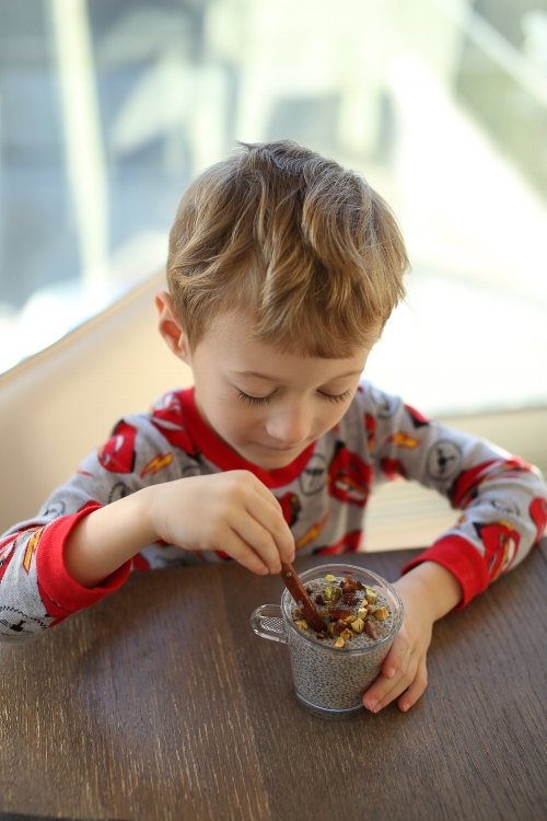 Totes enjoying his breakfast; home-made chia pudding.  Get this simple recipe here from Totes and the City!