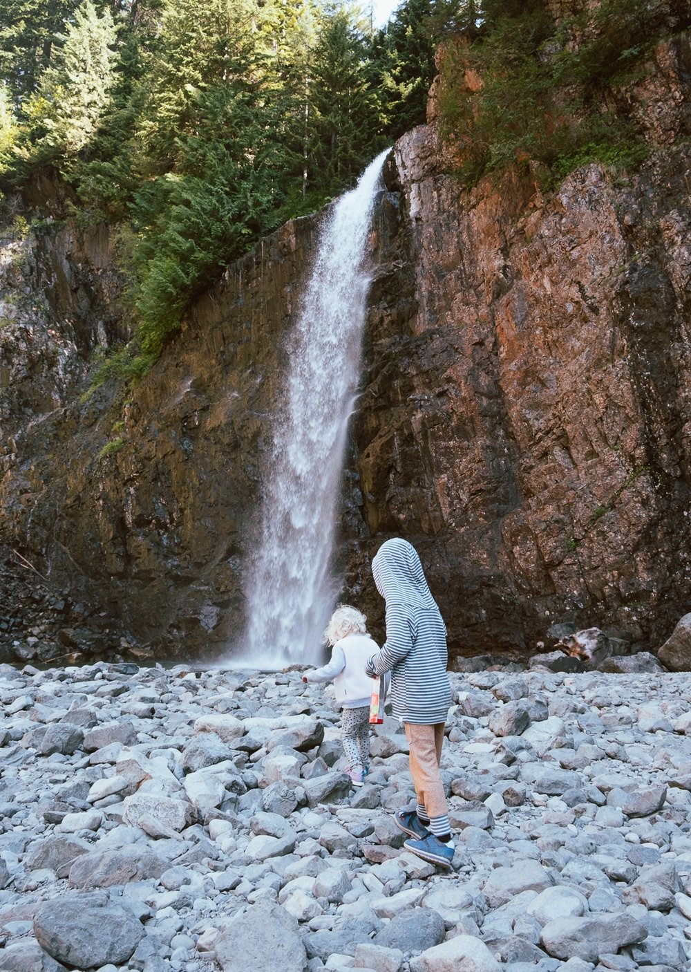 Totes and Apple at the base of Franklin Falls on a beautiful Pacific Northwest Day in early September