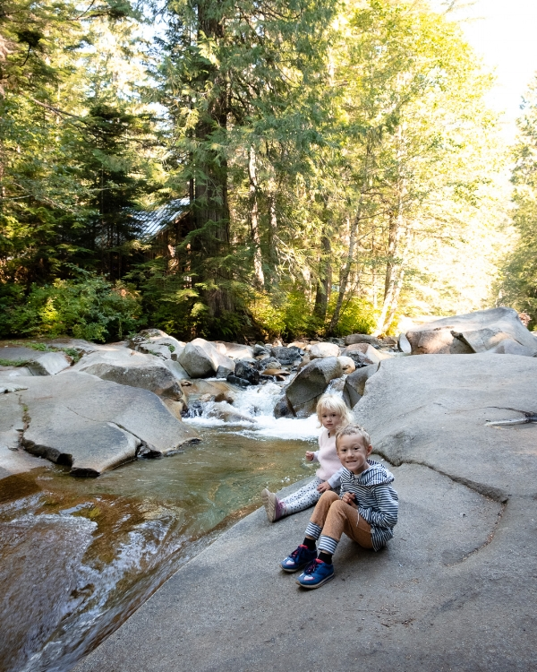 The hike to Franklin Falls along the Denny Creek Trail with Totes and Apple