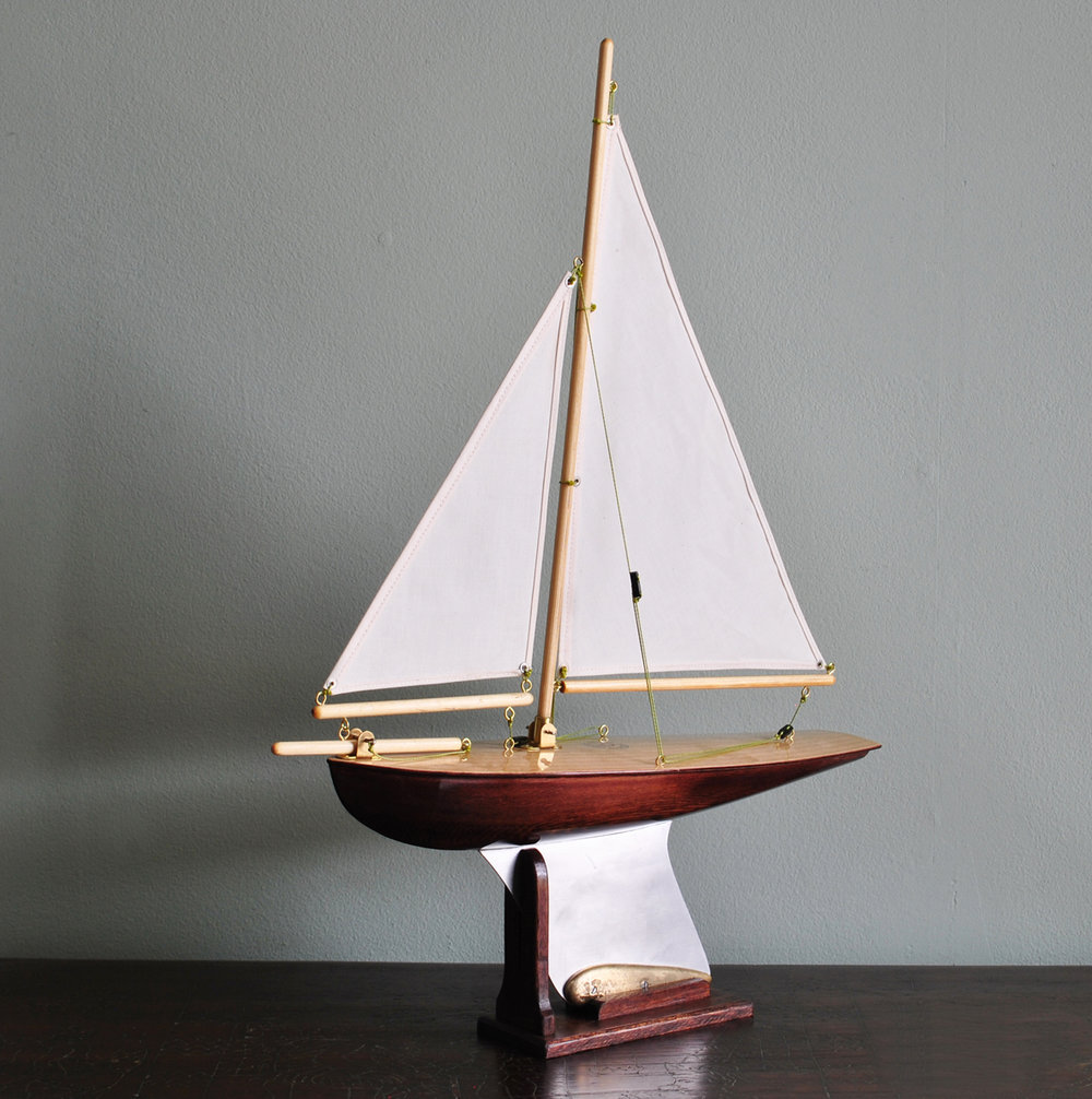 "Out of Stock ""May"" Walnut stained hull, light birch deck,cambric cotton sails"