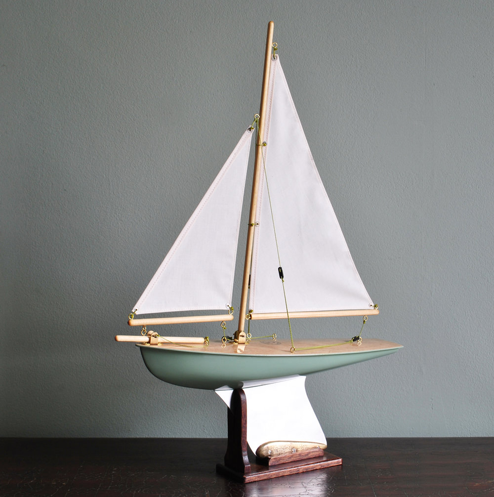 "Out of Stock  ""Sea Mist"" Painted Hull, light Birch deck, cambric cotton sails"