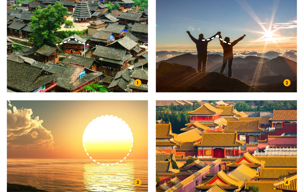 Logo inspiration board: 1. The roof of Chinese rural houses; 2. Two holding hands; 3. A rising sun; 4. Royal Chinese palace inspired the color palette