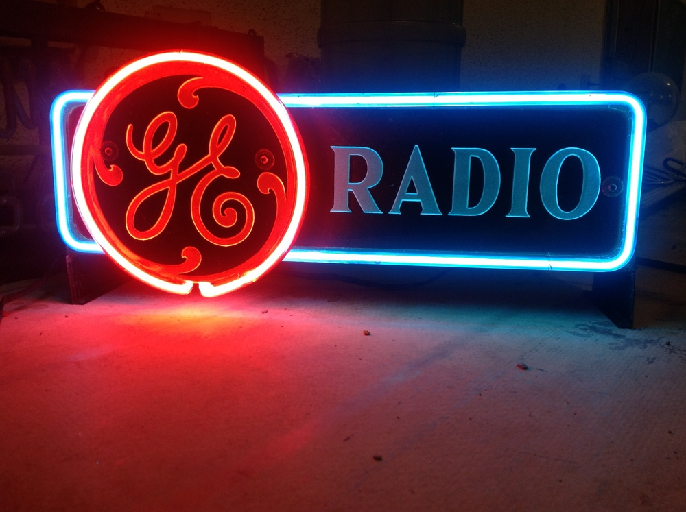GE Radio Point of Sale Sign - Reverse Sand-blasted Glass & Neon
