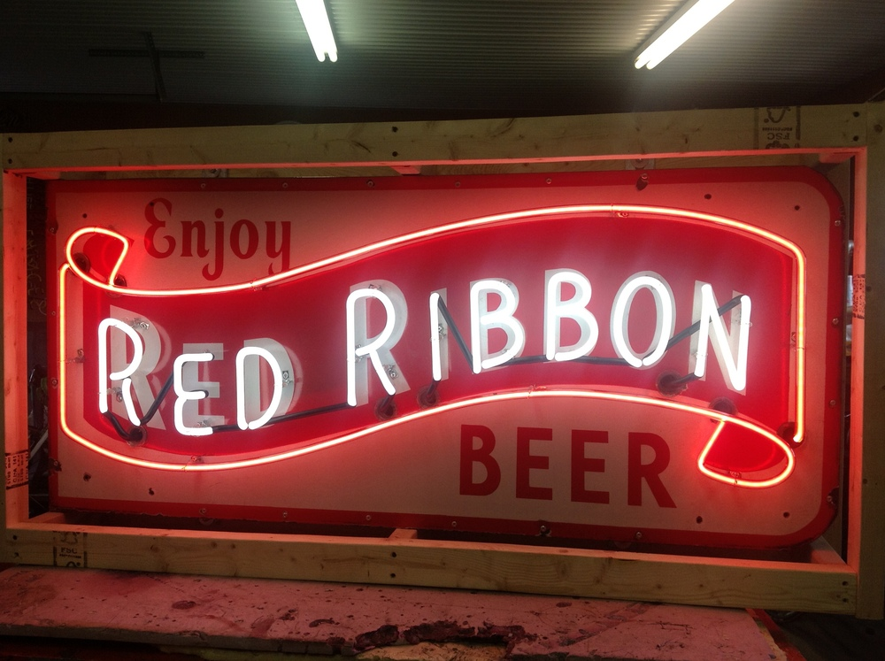 Enjoy Red Ribbon Beer - Neon & Porcelain