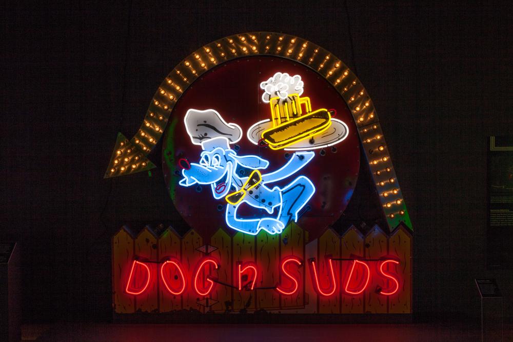Dog n Suds Neon and Porcelain Enamel Sign.