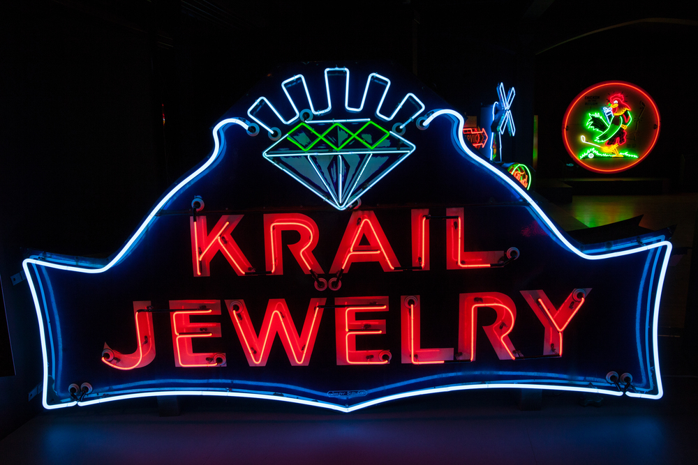 Krail Jewelry Neon and Porcelain Enamel Sign