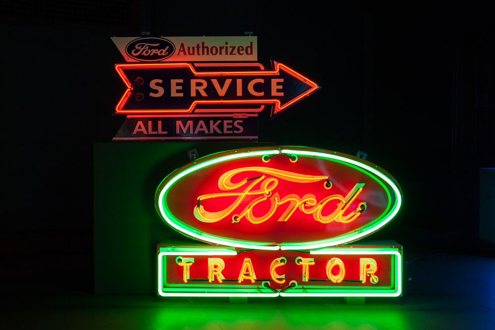 Custom-made Ford Service Neon and Porcelain Enamel Sign and Ford Tractor Neon Sign