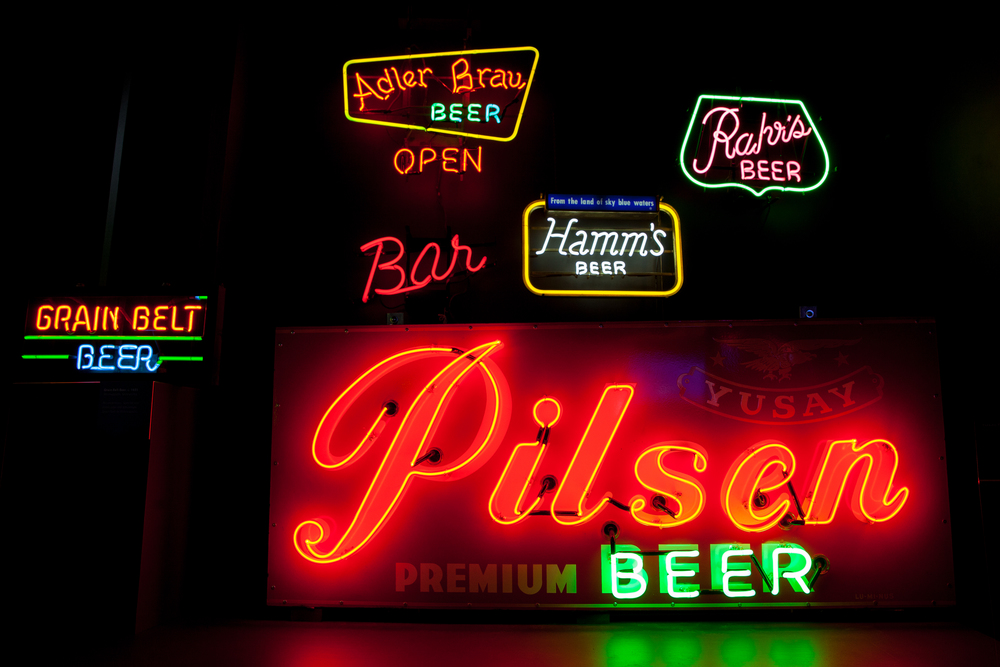 Pilsen Beer and other neon point of purchase beer signs.