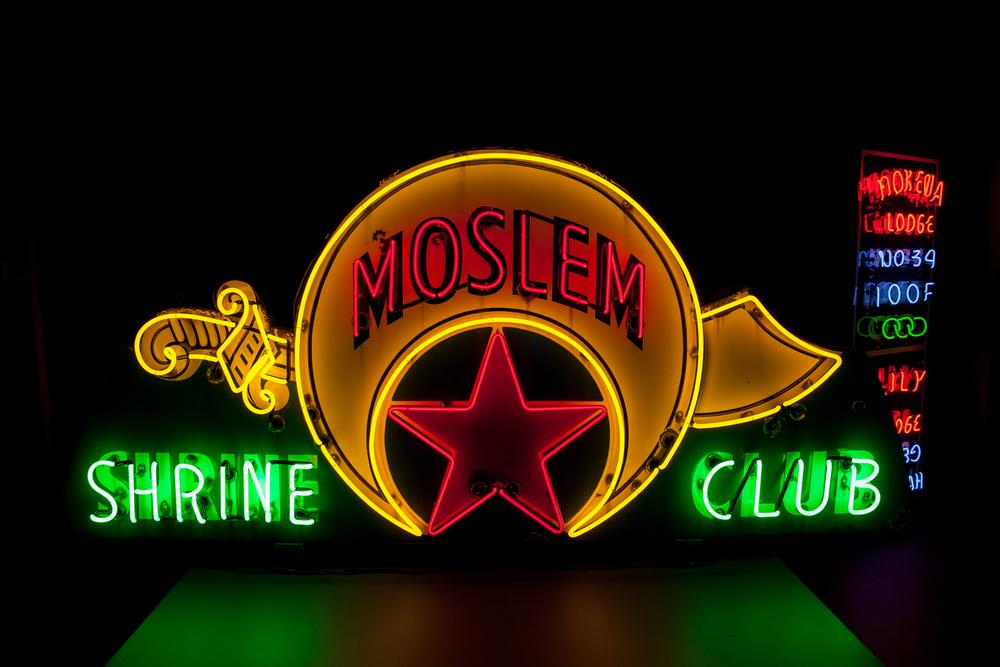 Molsem Shrine Club Neon and Porcelain Enamel Sign.