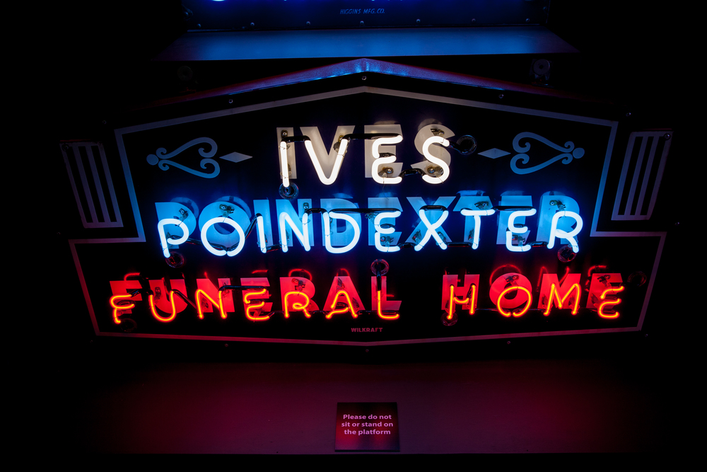 Ives Poindexter Funeral Home Neon and Porcelain Enamel Sign