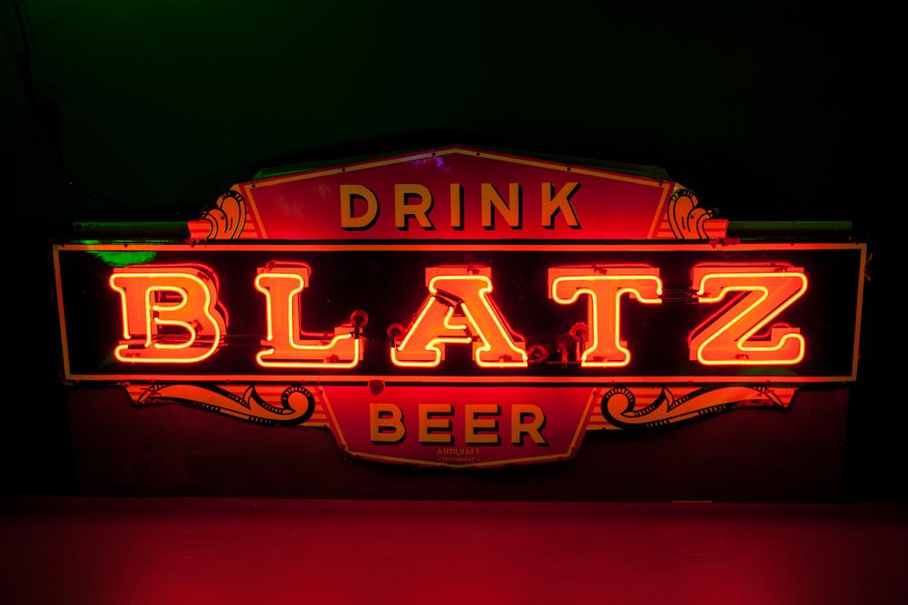 Blatz Beer Neon and Porcelain Enamel Sign.