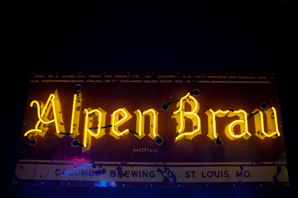 Alpen Brau Neon and Porcelain Enamel Beer Sign