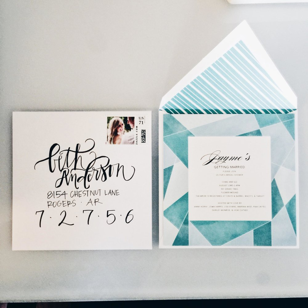 MODERN WEDDING INVITATION DESIGN, CALLIGRAPHY & CUSTOM STAMP  -