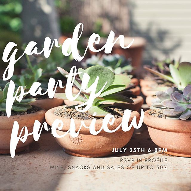 We only have 25 spots left for our preview party. Celebrate our summer sale. RSVP in bio. Italian wine, snacks, terra cotta, and travel stories provided for free at the Sprout private garden.