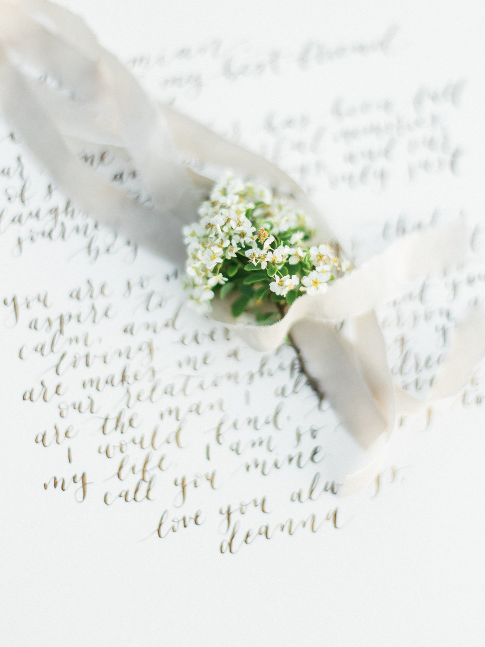anniversary love notes | calligraphy vows by jennifer bianca calligraphy | shot by esther funk photography