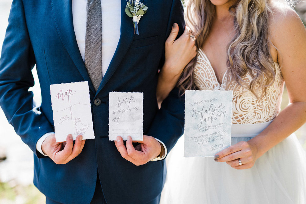 Lakeside Elopement Wedding Inspiration - Wedding Stationery and placecards by Jennifer Bianca of www.jenniferbianca.com