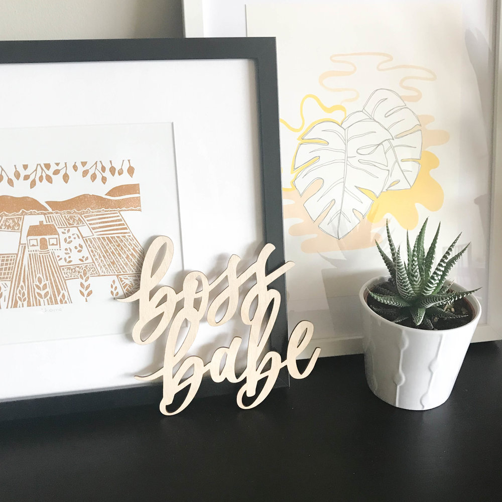 Boss babe wood lasercut