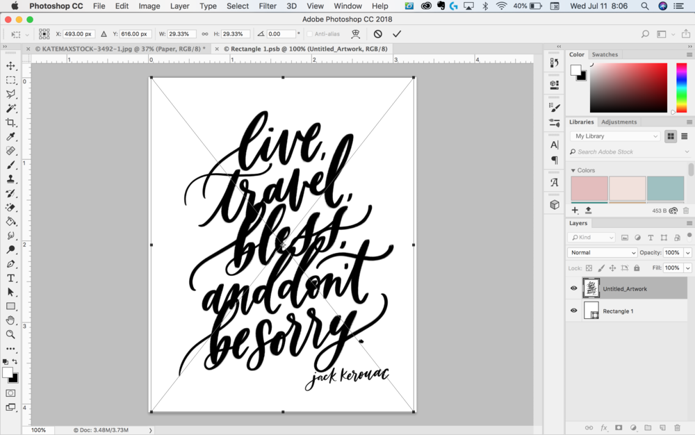 How to use stock photos for calligraphy prints by Jennifer Bianca Calligraphy