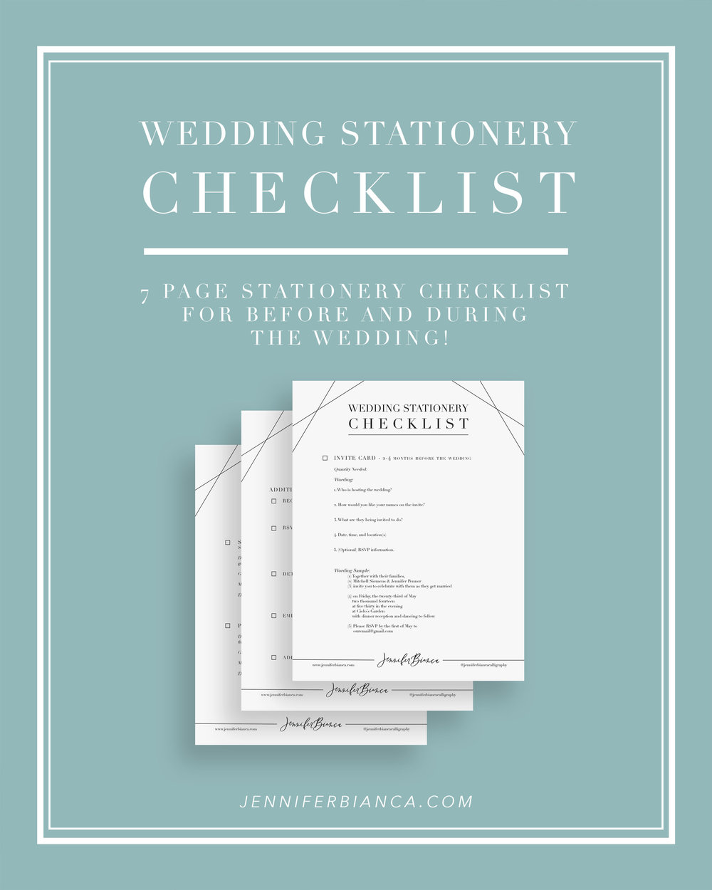 Wedding stationery checklist by jenniferbianca.com