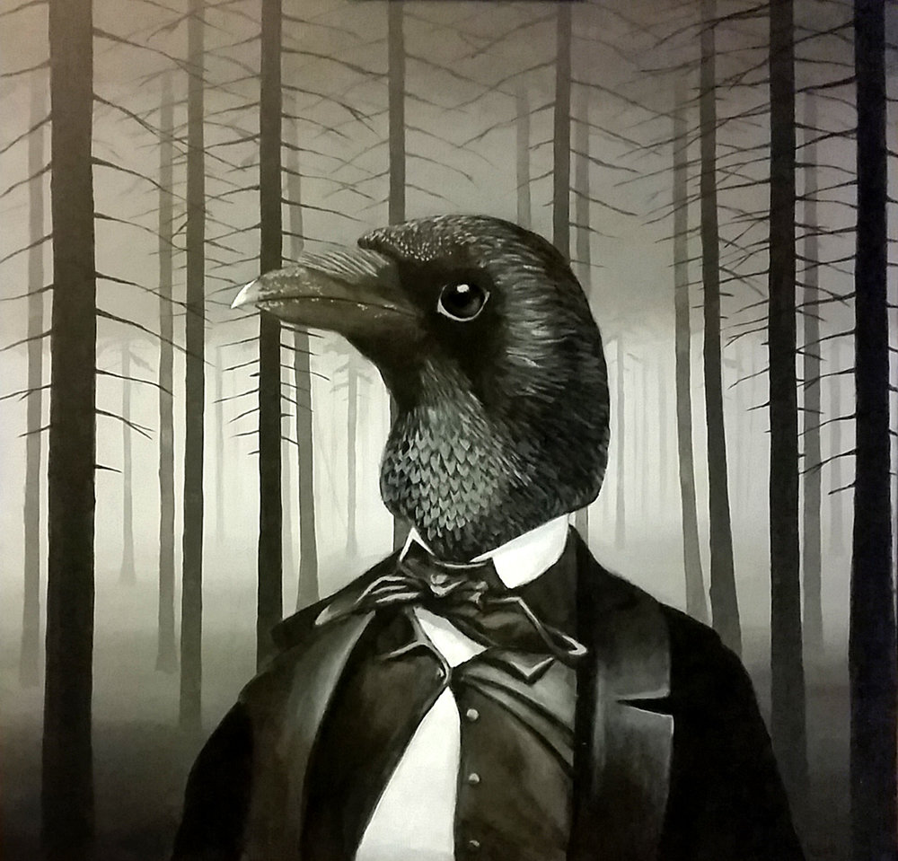 "Edgar Allan Crow - 24""x24"", acrylic on canvas"