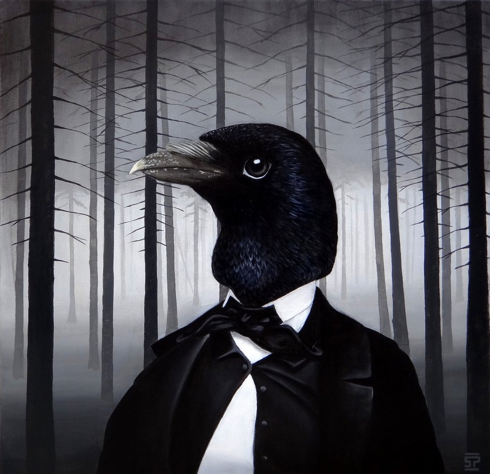 Edgar Allan Crow - 24x24, acrylic on canvas. SOLD $500