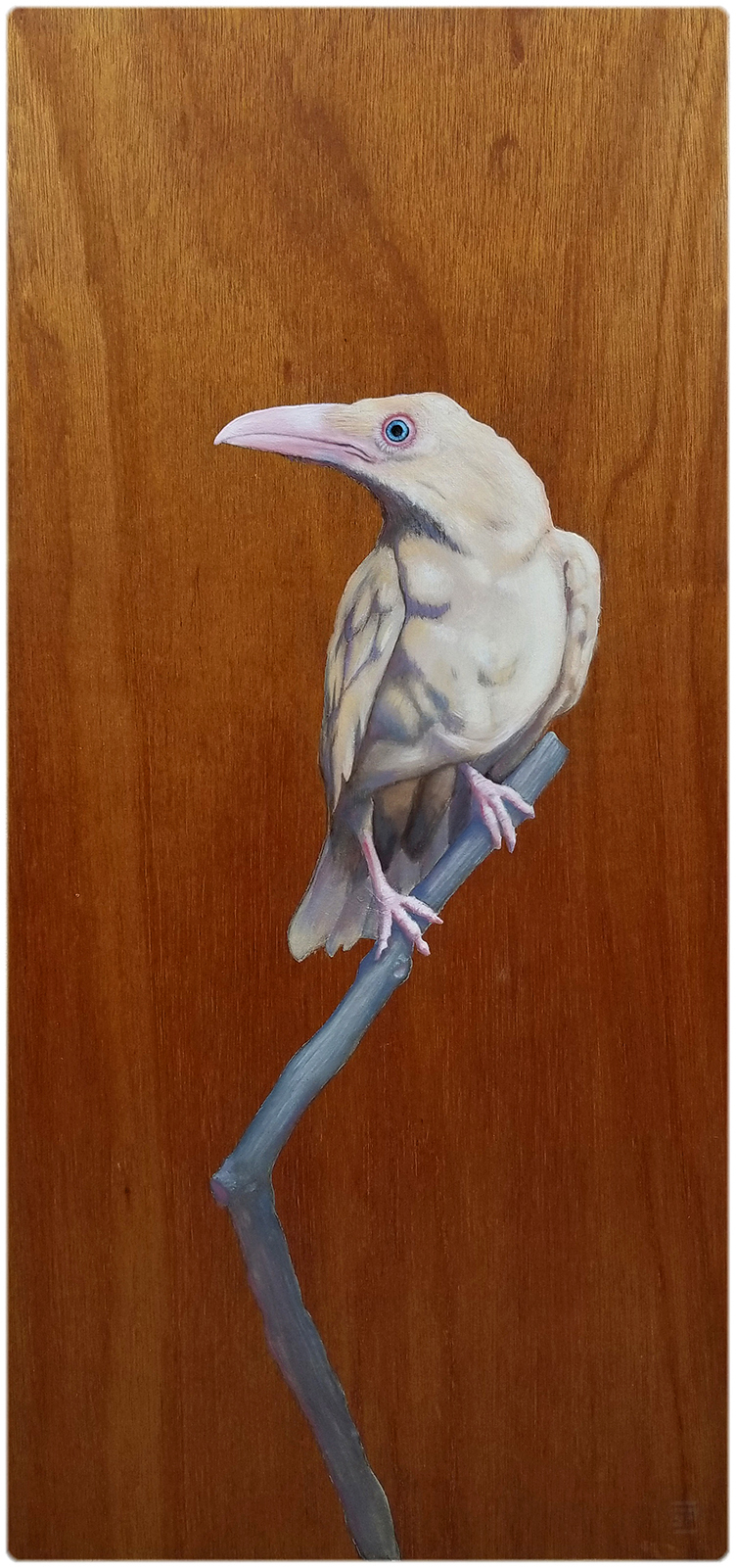 The White Raven - oil on recycled wood panel, 24.75 x 11.5 $650