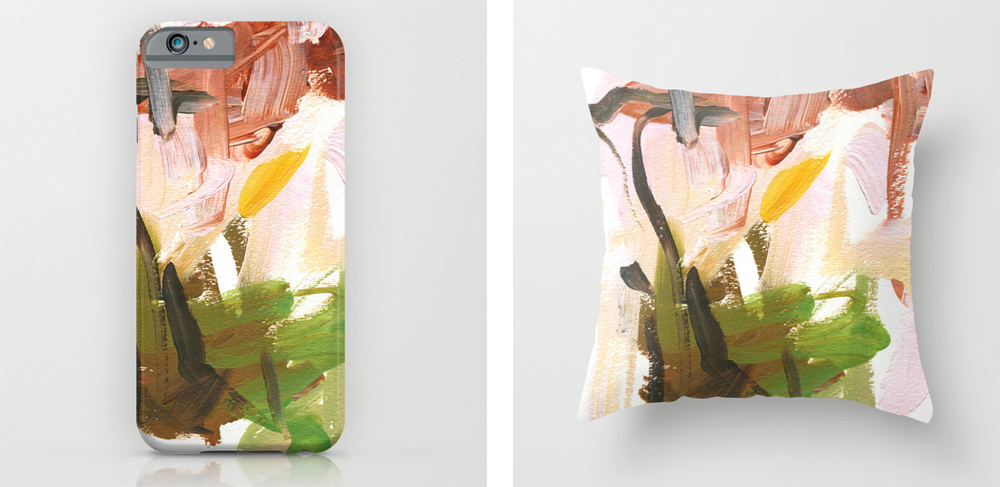 Abstract art iPhone case and pillow by Meredith C Bullock