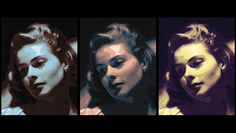 """Ingrid Bergman"" – Gouache Triptych"