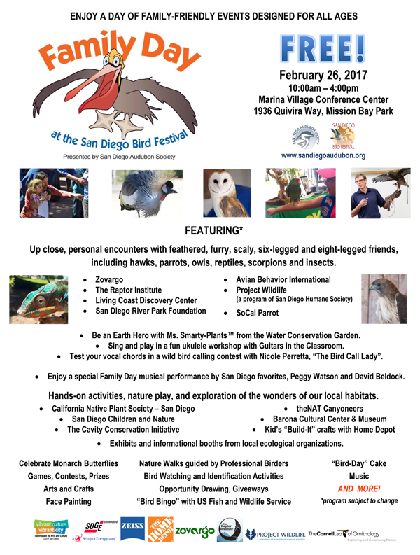 Family Day Flyer.  (Source:  San Diego Bird Festival )