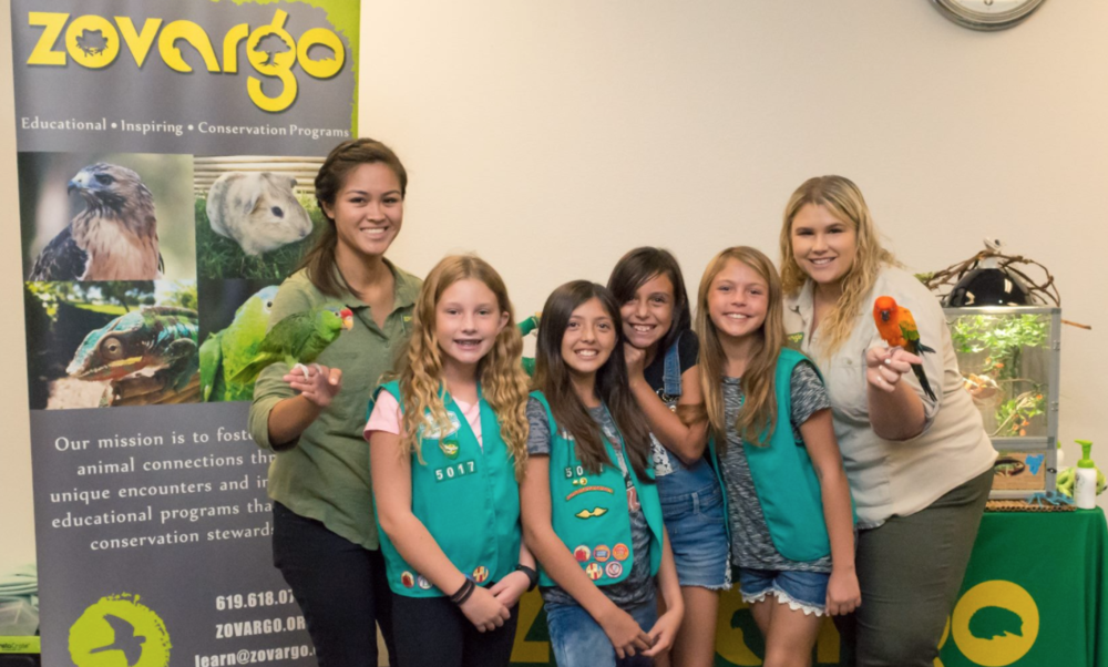 Baby Bird (left) and Chico (right) being fantastic ambassadors at a Zovargo Girl Scouts event