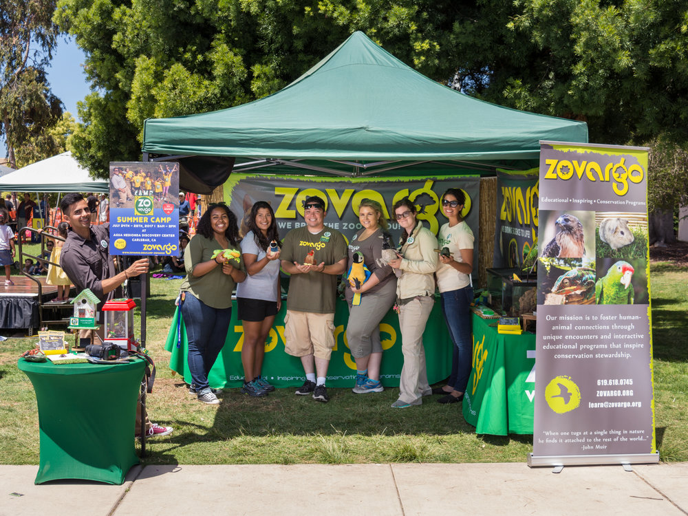 zovargo's animal educators are ready for the crowds! Earth day, 2017