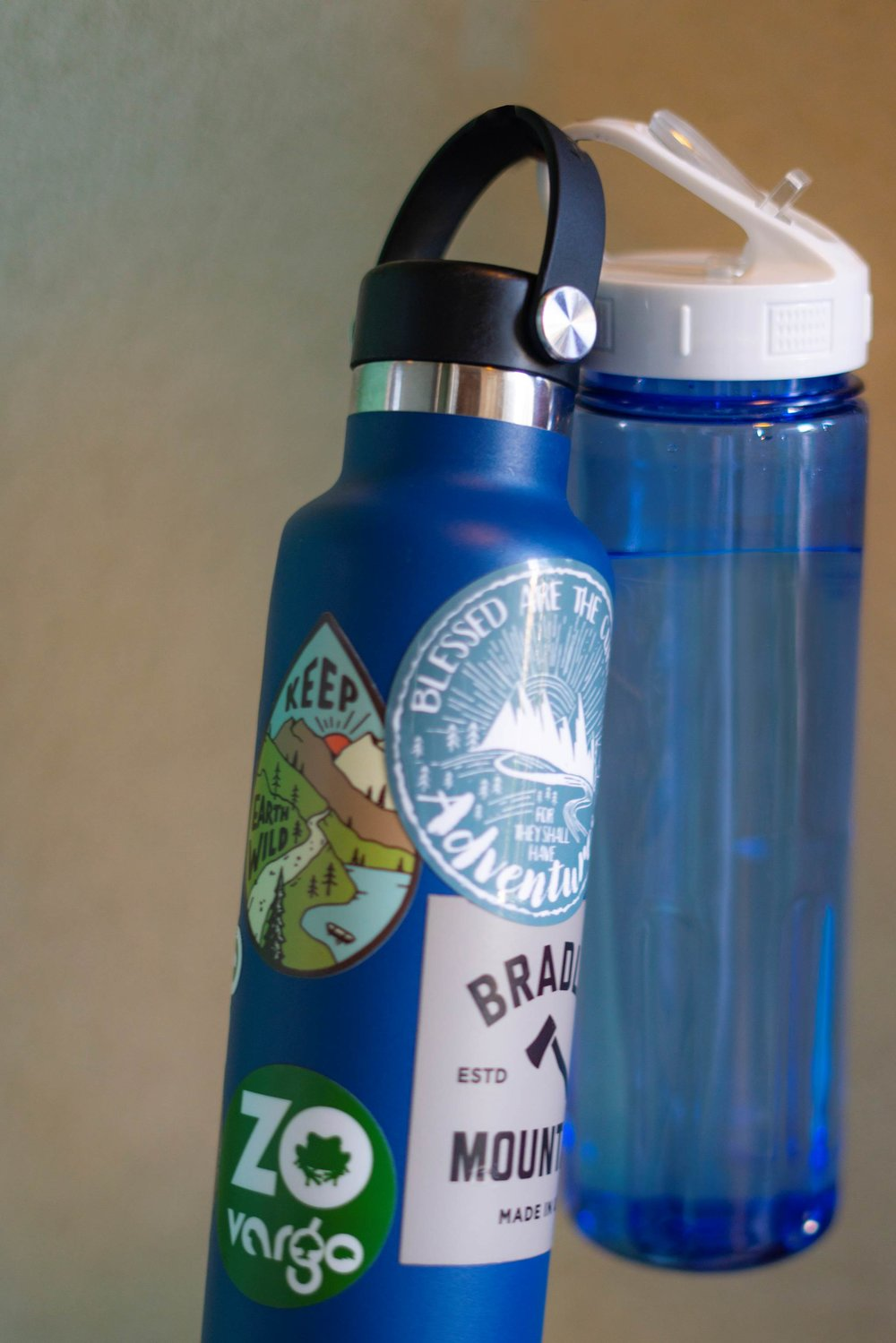 Using your own re-usable water bottle lets you bring along your own custom creation! Show the organizations you support and show off your personality ---and SAVE THE PLANET.