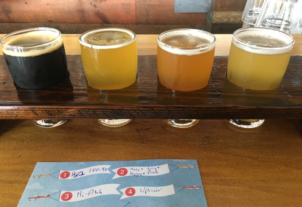 From left to right/1-4: their Imperial Stout (this time infused with Horchata), their version of the New England/Hazy IPA, one of their flagship IPAs, and their seasonal Hefeweisen.