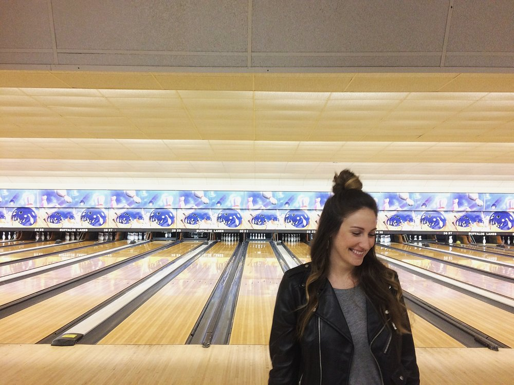 John and I went bowling for a Monday Funday last week - it was a great way to kick off some winter blues!  As you can see I only got 1 pin that time : )