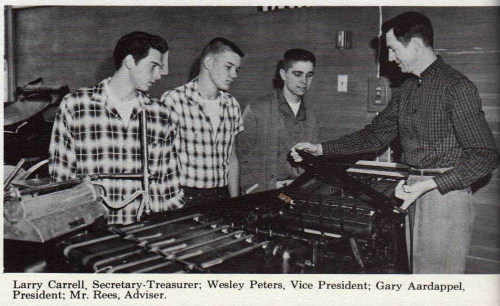 From the 1961 yearbook. Mr. Rees was the Industrial Arts Adviser.