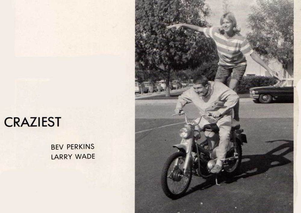 "From the 1966 yearbook. Bev Perkins and Larry Wade voted Senior Class ""Craziest."""