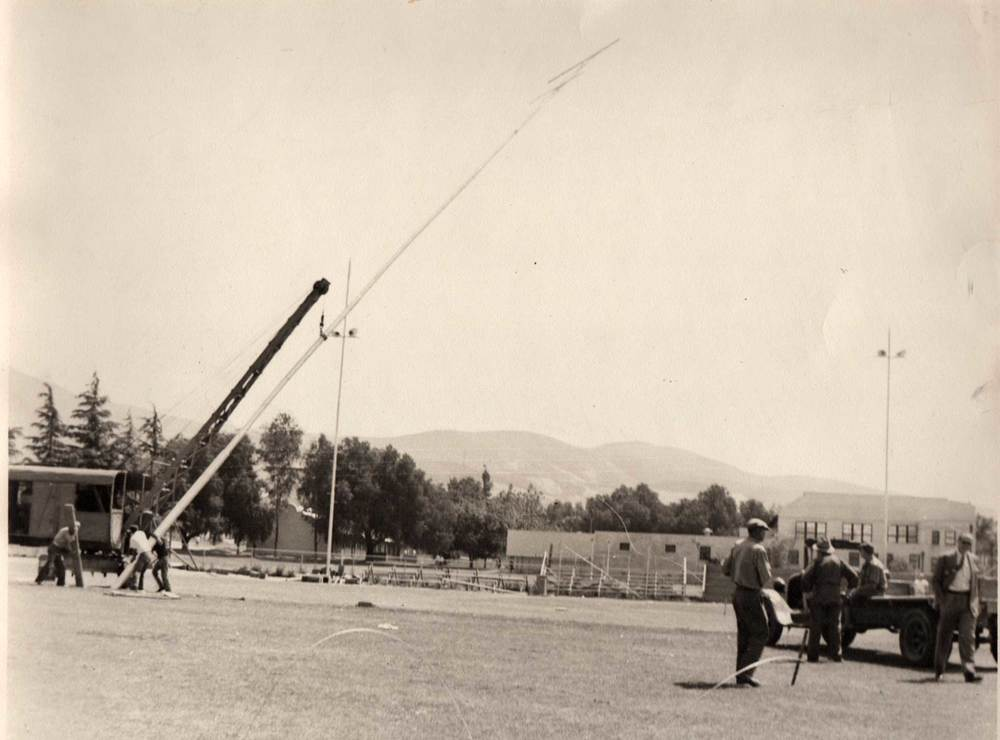 Photo circa 1941. Fillmore High football field receives lights for the first time.