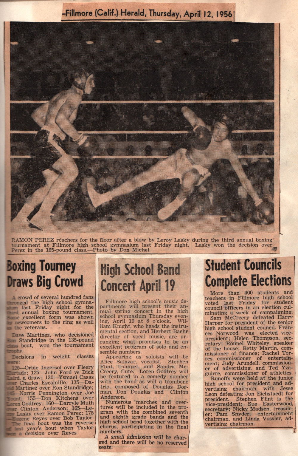 From a 1956 Fillmore Herald Newspaper clipping. A boxing match held in the Fillmore High gym.