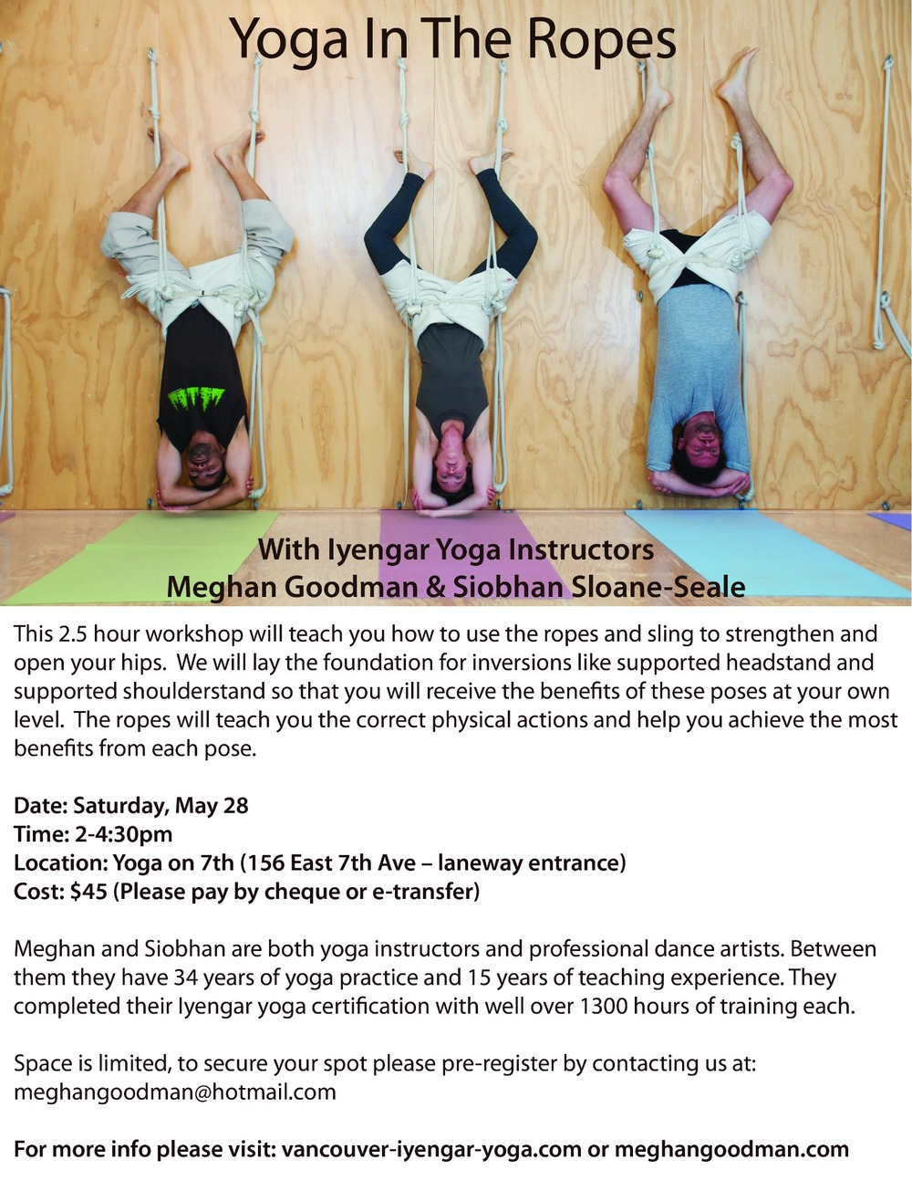 To pre-register, email meghangoodman@hotmail.com