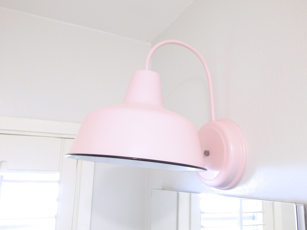 finished pink DIY barn light