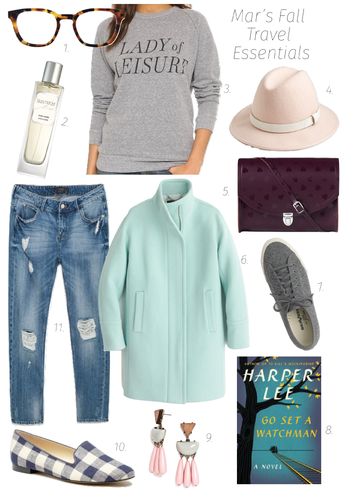 1. Specs 2. Perfume 3. Sweatshirt  4. Hat  5. Bag  6. Coat  7. Sneakers  8. Book  9. Earrings  10. Loafers 11. Jeans