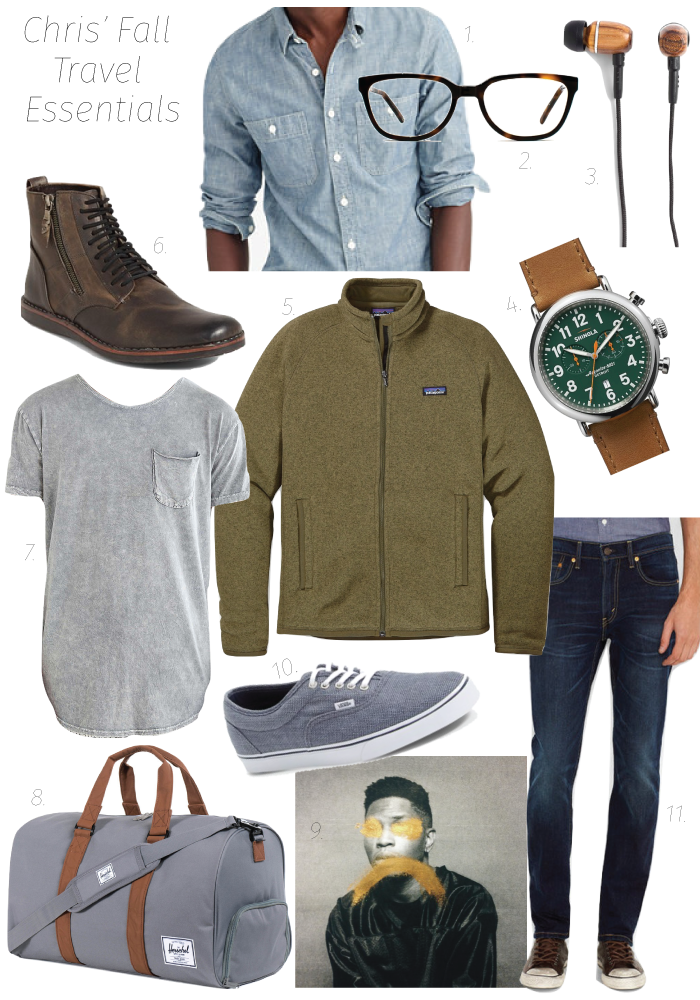 1.Shirt 2.Specs3. Earbuds 4.Earbuds5.Jacket6. Boots 7.Tee8.Duffle 9.Album 10. Sneakers11.Jeans