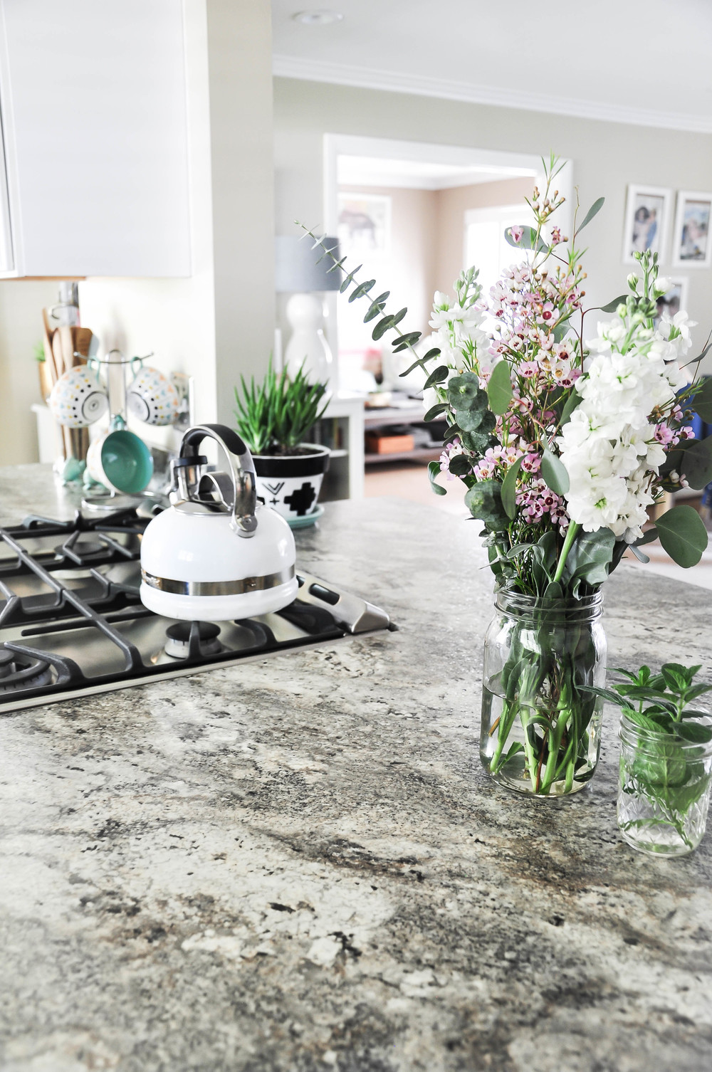 bright remodeled kitchen with flowers